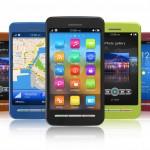 Smartphones i forskellige farver